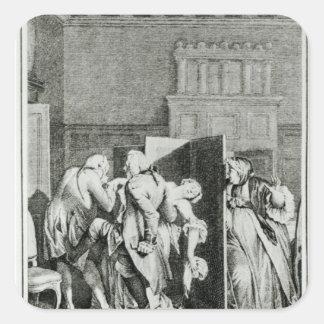 El barón… Candide saludado Pegatina Cuadrada