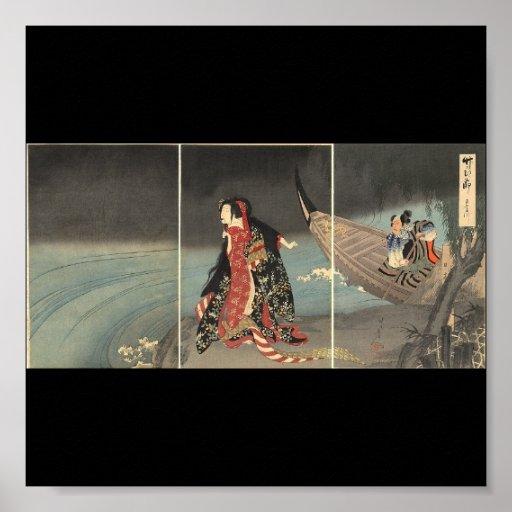El barquero, circa 1898. Pintura japonesa Poster