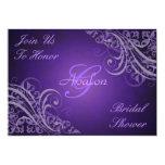 El Barroco púrpura remolina invitación nupcial de Invitación 12,7 X 17,8 Cm