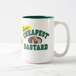 El bastardo más barato del mundo taza de café de dos colores