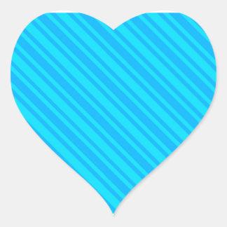 El BASTÓN de CARAMELO de los azules RAYA el FONDO Pegatina De Corazón Personalizadas