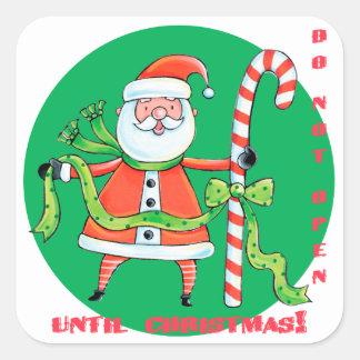 El bastón de caramelo de Santa no se abre hasta Colcomanias Cuadradass