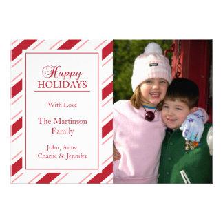 El bastón de caramelo raya la tarjeta de Navidad ( Invitacion Personalizada