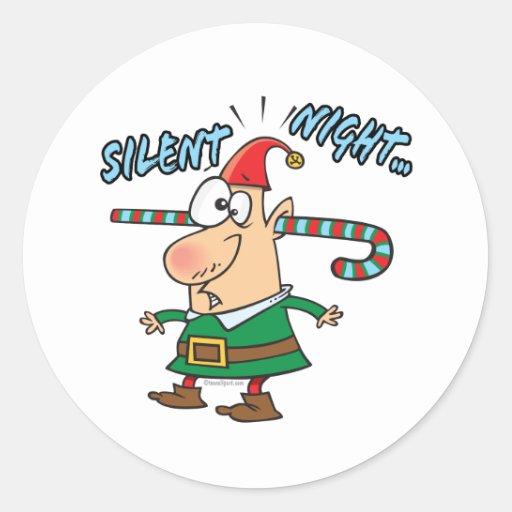 el bastón de caramelo silencioso del oído del pegatinas redondas