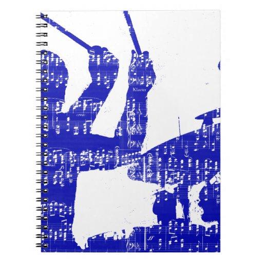 El batería pega grunge azul de la música de la som libro de apuntes con espiral