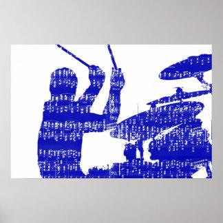 El batería pega grunge azul de la música de la som póster