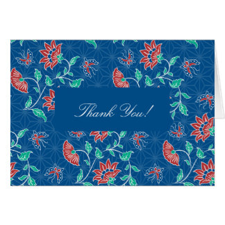 El batik floral de Aiyana le agradece cardar Tarjeta De Felicitación