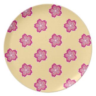El batik floral de Sakura florece placa Platos Para Fiestas