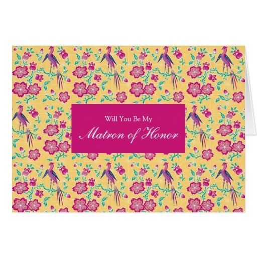 El batik floral de Sakura sea mi matrona del honor Tarjeta De Felicitación