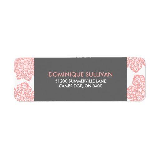 El batik rosado y gris florece la etiqueta del rem etiquetas de remite