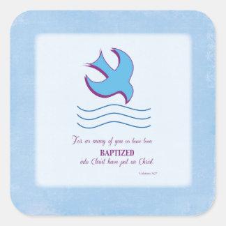 El bautismo adulto se zambulló en azul pegatina cuadrada