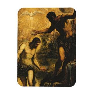 El bautismo de Cristo (aceite en lona) Imán Rectangular
