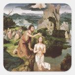 El bautismo de Cristo, c.1515 Calcomanía Cuadrada