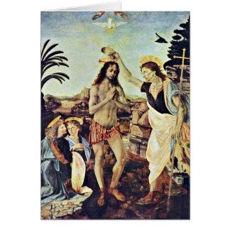 El bautismo de Cristo de Andrea del Verrocchio Tarjeta De Felicitación