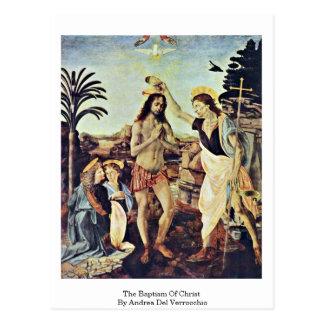 El bautismo de Cristo de Andrea del Verrocchio Tarjeta Postal