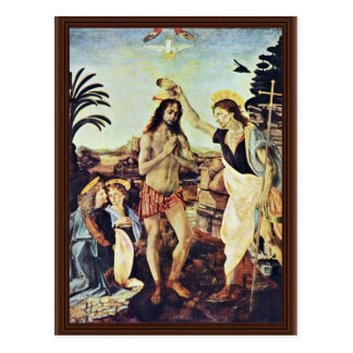 El bautismo de Cristo de Andrea del Verrocchio Tarjetas Postales