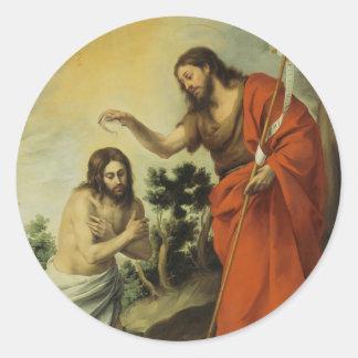 El bautismo de Cristo de Bartolome Esteban Murillo Pegatina Redonda