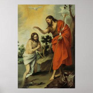 El bautismo de Cristo de Bartolome Esteban Murillo Póster
