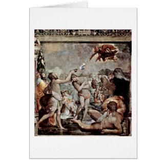 El bautismo de Cristo de Jacopo Del Conte Tarjeta De Felicitación