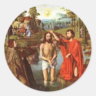 El bautismo de Jesús pintó por los amos Pegatina Redonda