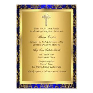 """El bautismo de la cruz del damasco del azul real y invitación 5"""" x 7"""""""