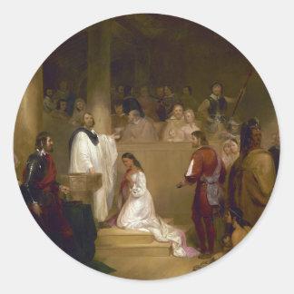 El bautismo de Pocahontas del buhonero de Juan Gad Pegatina Redonda