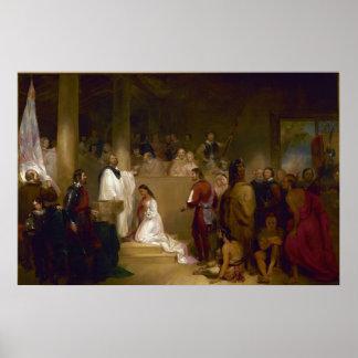 El bautismo de Pocahontas del buhonero de Juan Gad Póster