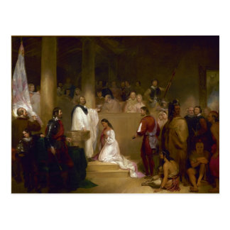 El bautismo de Pocahontas del buhonero de Juan Postales