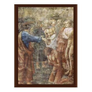 El bautismo de un convertido por Masaccio (la mejo Tarjeta Postal