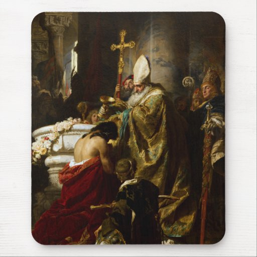 El bautismo de Vajk de Gyula Benczúr (1875) Tapete De Ratones