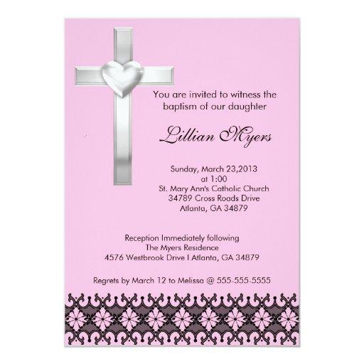 """El bautismo del cordón/la cruz elegantes rosados invitación 5"""" x 7"""""""