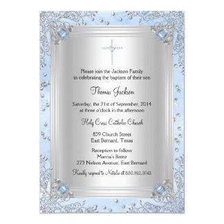 """El bautismo/el bautizo azules de la joya de la invitación 5"""" x 7"""""""