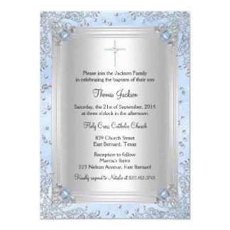 """El bautismo/el bautizo azules de la joya de la invitación 4.5"""" x 6.25"""""""