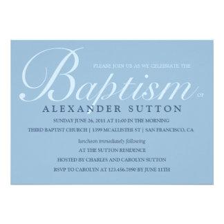 El bautismo el bautizo azules simples invita