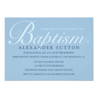 """El bautismo/el bautizo azules simples invita invitación 5"""" x 7"""""""