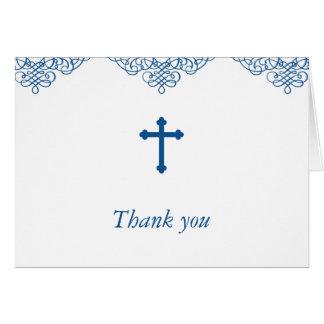 El bautismo/el bautizo de los muchachos azules le tarjeta pequeña