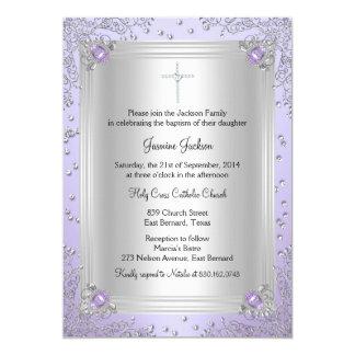 """El bautismo/el bautizo púrpuras de la joya de la invitación 5"""" x 7"""""""