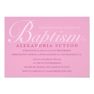 El bautismo/el bautizo rosados simples invita invitación personalizada