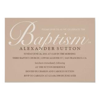 """El bautismo/el bautizo simples de Brown invita Invitación 5"""" X 7"""""""