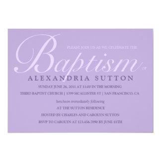"""El bautismo/el bautizo simples de la lavanda invitación 5"""" x 7"""""""