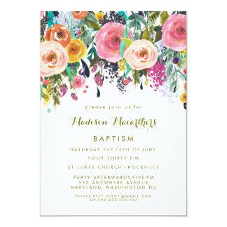 """El bautismo floral pintado del bautizo de los invitación 5"""" x 7"""""""