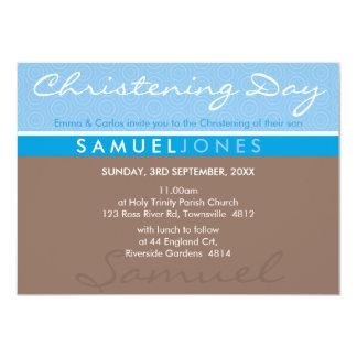 El BAUTISMO INVITA a la moca azul maravillosa Invitaciones Personalizada
