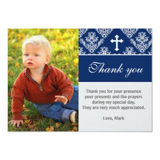"""El bautismo le agradece observar azules marinos de invitación 5"""" x 7"""""""