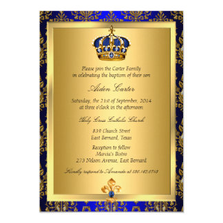 El bautismo real de la corona del príncipe azul invitación 12,7 x 17,8 cm