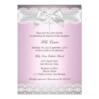 El bautismo rosado bonito del cordón y de la cruz invitación 12,7 x 17,8 cm