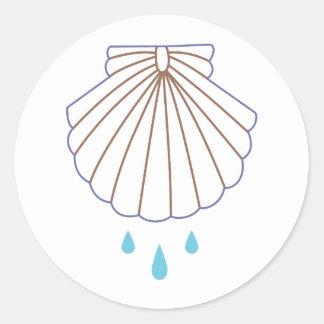 El bautismo Shell Applique Pegatina Redonda