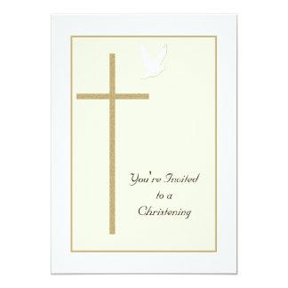"""El bautizo invita a la cruz y a la paloma de la invitación 5"""" x 7"""""""