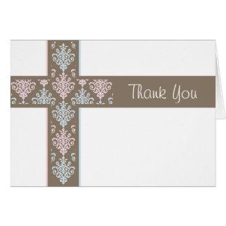 El bautizo le agradece cardar a gemelos del | tarjeta pequeña