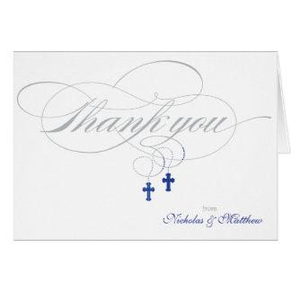 El bautizo o la primera comunión le agradece tarjeta pequeña