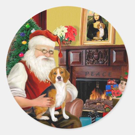 El beagle de Santa (#7) Pegatina Redonda